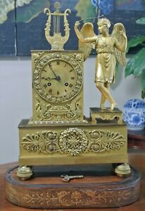 FRENCH EMPIRE ORMOLU GILT BRONZE FIGURAL MANTLE TABLE CLOCK ~ 19th CENTURY