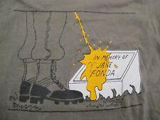 RARE Vintage 1980s Piss on JANE FONDA grave VIETNAM novelty shirt Army USA