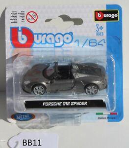 Bburago 1:64 Porsche 918 Spyder grey 18-59046 FNQHotwheels BB11