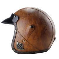 Vintage Motorcycle Helmet Deluxe Leather Open Face Half 3/4 Jet Scooter Helmet