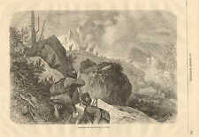 Hunting Antelope In The Tyrol, Italy, Vintage 1878 French Antique Art Print