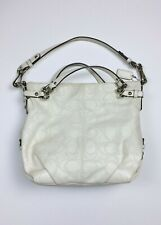 COACH Cream BROOKE Perforated Signature C Logo Leather Purse Bag Double Handbag