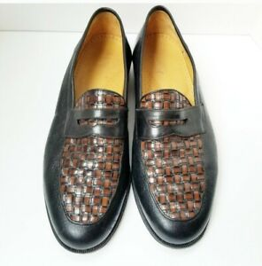 11EE E.T. Wright Masters Collection Leather Slip on Loafers Spain Black/Brown