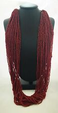 Vintage Multiple Strand Glass Bead Necklace In Burgandy With Silver Plate Chain