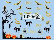 Halloween GOLD Tree Branch Bats Cats Pumpkin Webs 3D Nail Art Sticker Decals