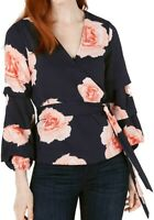 Bar III Womens Blouse Blue Size Medium M Faux-Wrap Floral Tiered Sleeve $69- 040