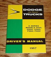 1957 Dodge Truck Owners Operators Manual 57 K Series D100 200 300 400