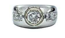 2.12  mens NATURAL DIAMOND  solitaire pinky ring SOLID PLATINUM