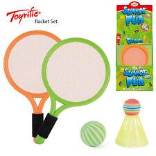 Toyrific Kids 2 Player Outdoor Garden Fun Games Neon Tennis Badminton Racket Set