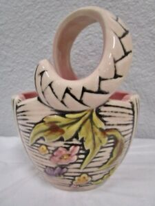 Vintage  -  HULL Art USA Pottery  -  Blossom Flite  Pink Floral Basket  -  Small