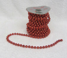 29 Feet Vintage Plastic Bright Red Christmas Garland Beads Roll Herald