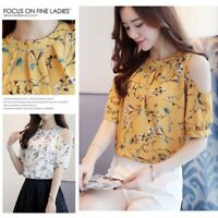 Summer Women Blouse Floral Short Sleeve Lady Chiffon Loose Casual T-shirt Tops