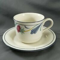 Lenox Poppies on Blue  Cup and Saucer Blue and Pink Floral 8 oz Chinastone