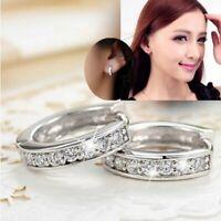 Chic Silver Round Crystal Heart Hoop Ear Stud Earrings Wedding Bridal Women Gift