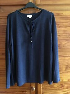 LADIES MONSOON SIZE 22-24 JUMPER BELL SLEEVE SPARKLE KEYHOLE NECK Navy