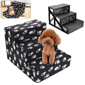 3 Steps Pet Dog Ladder Soft Stairs Puppy Washable Cover Ramp Folding Doggy UK.