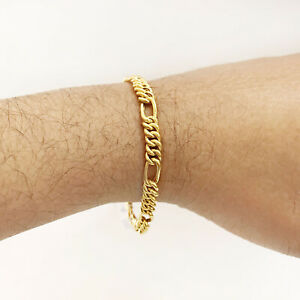 Fine Jewelry 18 Kt Real Solid Yellow Gold 6 MM Figaro Link Men's Bracelet 9.840g