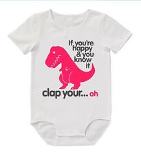BABY Romper If Your Happy and You Know Bodysuit Cute Funny Mum Dad Aunty Uncle