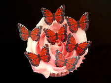 30 PRE-CUT RED & BLACK BUTTERFLIES EDIBLE RICE WAFER PAPER CUP CAKE TOPPERS