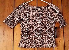Junior's Size Medium Leopard Print Top Blouse Shirt Tan Brown Black White