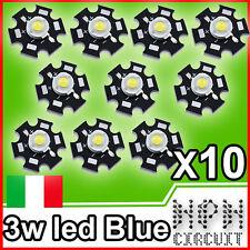 LED 3W ROYAL BLUE 445-455nm + STAR 700mA POWER LED x10 Pezzi