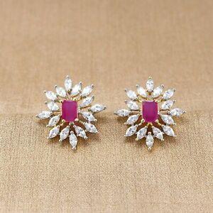 Cubic Zirconia Designer Stunning Ruby Stud Earring 32 RE 24 32 RE 25