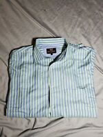 Hickey Freeman Dress Shirt stripe blue green white 100% cotton Size Large