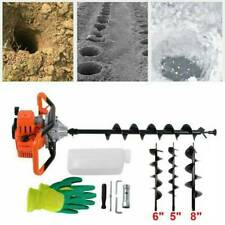 New Listing52cc Post Hole Digger Gas Powered Earth Auger Borer Fence Ground3 Drill Bits Us