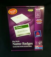 Name Badges Pin Style 3 x 4 Inches soft Plastic & White Paper Box of 100