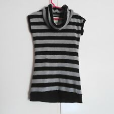 Poof! For The Planet Black & Gray Striped Cowl Neck Girl's Knit Top XS/6X