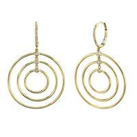 Multi Circle Diamond Earrings Dangle Drop 14K Yellow Gold Round Cut Natural