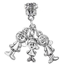 Triplets 2 Boys 1 Girl Brothers Sisters Kids Dangle Charm for European Bracelets
