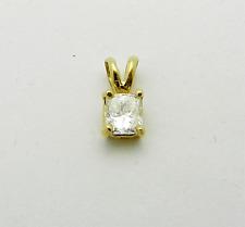 Radian Cut Solitaire Natural Diamond 0.45 ct 14k Yellow Gold Charm Pendant