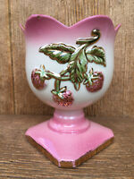 Hull USA Pottery Footed Planter Vase Bowl # 46 Pink Strawberry Gold Trim Vintage