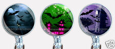 Halloween Badge Reel Retractable ID Name Card Holder Creepy Haunted Houses Bats