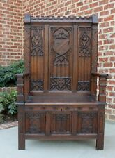 Antique French GOTHIC Oak Monk's Bench Hall Bench Settee Banquette Pew ~ON SALE~