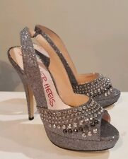 Head over Heels Dune Harriet Ladies Silver Glitter Diamante Peep Toe Shoes UK 7