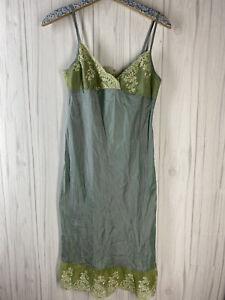 Dosa Women's Size 2 Teal Blue Green Lace Sleeveless 100% Silk Slip Dress EUC