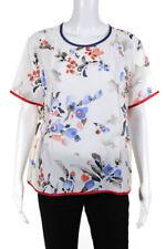 Armani Collezioni Womens Silk Crepe Watercolor Flowers Blouse White Size 16
