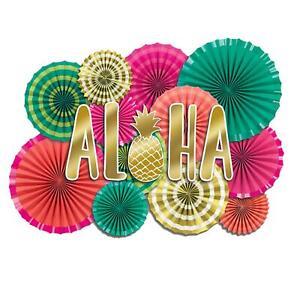 17pc Aloha Papel Fiesta Ventilador Hawaiano Luau Tiki BBQ Tropical Decoración De