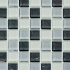 Glasmosaik weiß grau Küche Wand Badezimmer Boden Dusche Art: WB72-0204 | 1 Matte