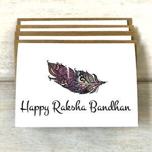 Pack of 4 Happy Rakhi/Raksha Bandhan Greeting Card (blank Inside) Hindu/Sikh