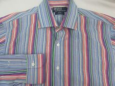 Ralph Lauren Polo Men's Regent Custom Fit Colorful Striped Long Sleeve Large