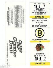 Chicago Black Hawks Last Game at Boston Garden NHL Hockey Bruins Unused Ticket