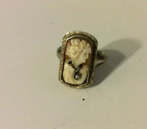 Vintage ca 1920's 14K White Gold Cameo Ring  Size 8