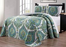 Turquoise Blue Grey White Sage Quilt Reversible CAL KING Size Bedspread Coverlet
