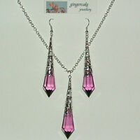 PURPLE FACETED VICTORIAN STYLE SILVER PLATED FILIGREE PENDANT EARRINGS SET LG