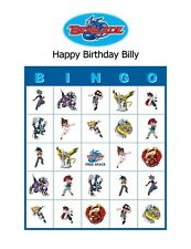 Beyblade Birthday Party Game Bingo Cards
