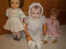 """LOT OF 3 VINTAGE Dolls  50s Ideal VP17, Unmarked Rubber and Composition 17""""-22"""""""
