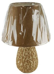 """Ceramic 16"""" Table Lamp & Shade BEIGE WOOD/SAND Finish Night Stand Counter U/L"""